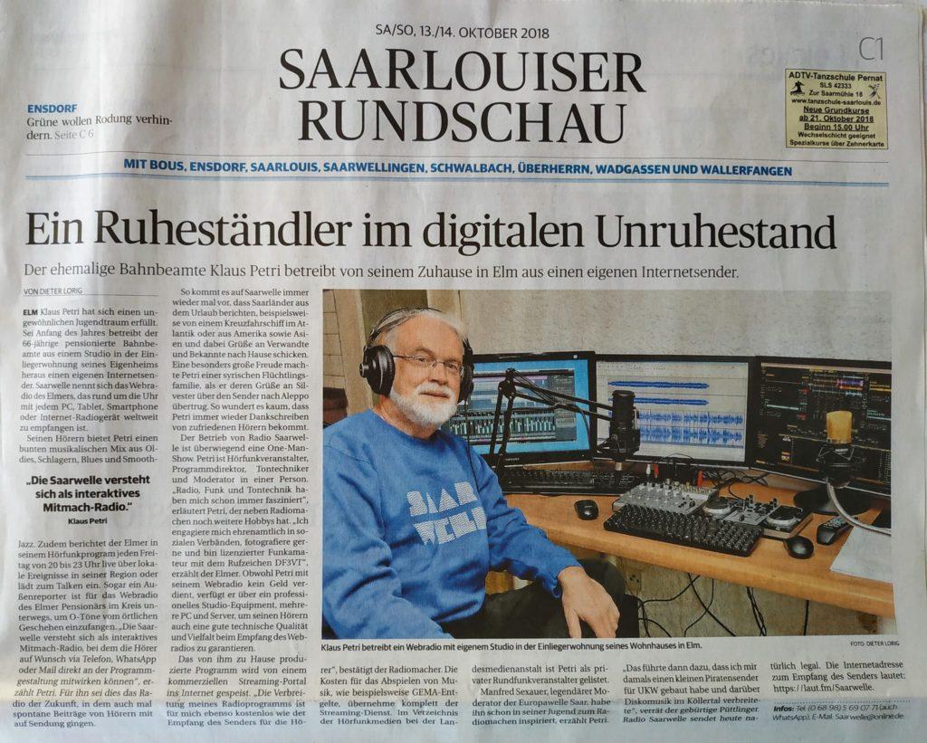 Saarlouiser Rundschau, vom 13. Oktober 2018